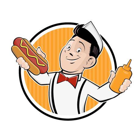 Funny cartoon hot dog   vector illustration Illustration