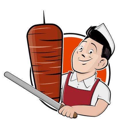 Funny  kebab   in cartoon style Standard-Bild - 144614372
