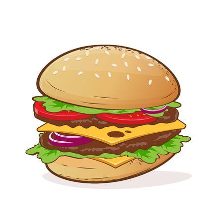 Cartoon illustration of a delicious burger