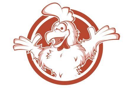 Funny chicken cartoon   vector illustration
