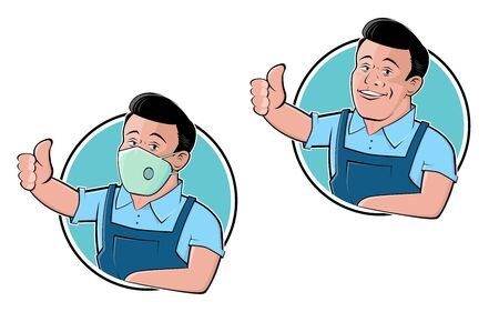 Funny cartoon   illustration of a handsome craftsman set with and without breathing mask