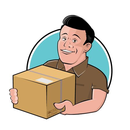 Funny cartoon delivery guy with parcel in a badge Standard-Bild - 145833961