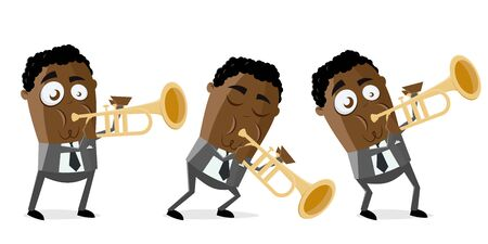 funny vector illustration of a cartoon jazz trumpeter