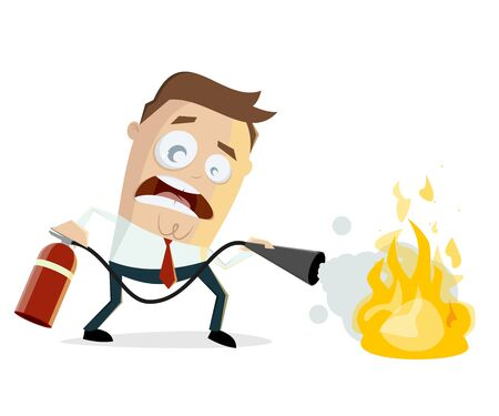 funny illustration of a cartoon man with fire extinguisher Standard-Bild - 145833963