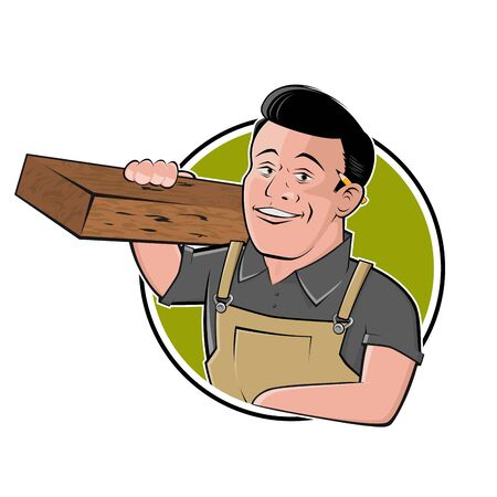 Funny cartoon   of a carpenter in a badge Illustration