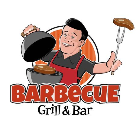 retro cartoon   of a handsome man with barbecue grill and steak Illustration