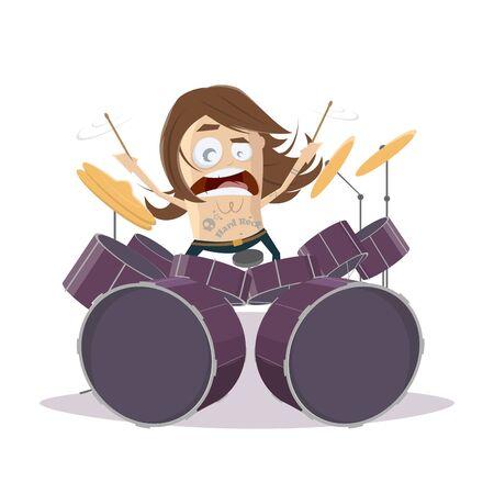 Funny cartoon drummer Illustration