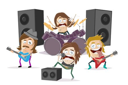 Funny cartoon illustration of a rock band  イラスト・ベクター素材