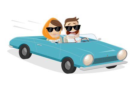 Funny cartoon couple driving classic convertible car Ilustracje wektorowe