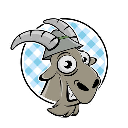 Funny cartoon logo of a happy goat with hat in a badge