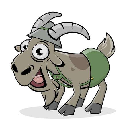 funny cartoon illustration of a happy bavarian goat in lederhosen Illustration