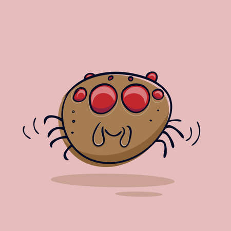 funny jumping spider cartoon illustration