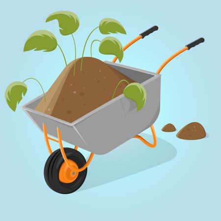 funny cartoon illustration of a wheelbarrow with soil and plants Illustration