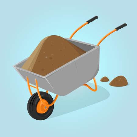 funny cartoon illustration of a wheelbarrow with soil