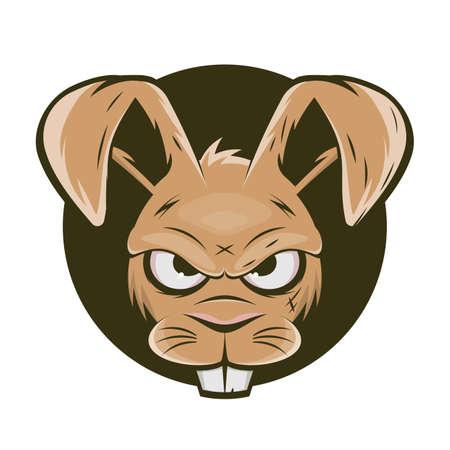 funny cartoon logo of an angry rabbit