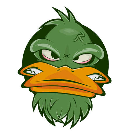 funny cartoon logo of an angry duck Illustration