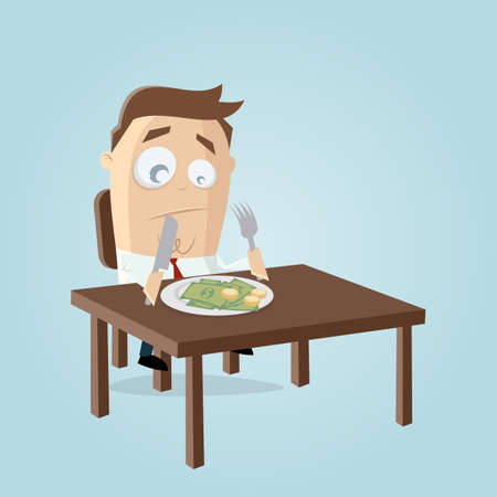 funny cartoon illustration of a rich businessman who has to eat his money Illustration