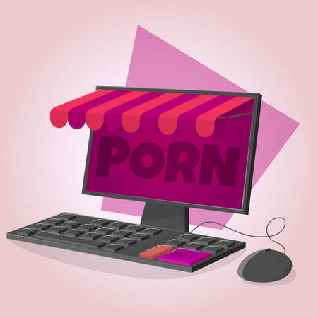 cartoon illustration of a virtual porn shop