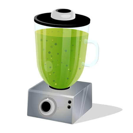 cartoon illustration of a green smoothie in a blender Çizim