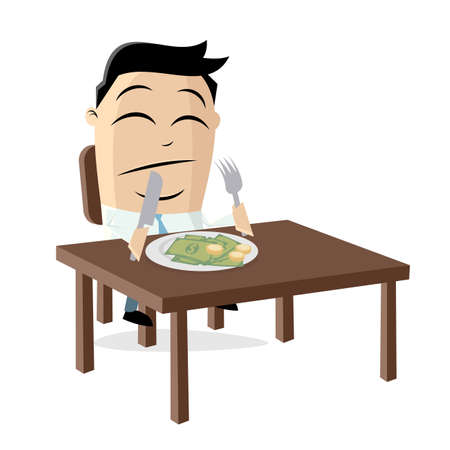 funny cartoon illustration of a rich asian businessman who has to eat his money