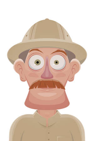 funny cartoon illustration of a man in safari outfit