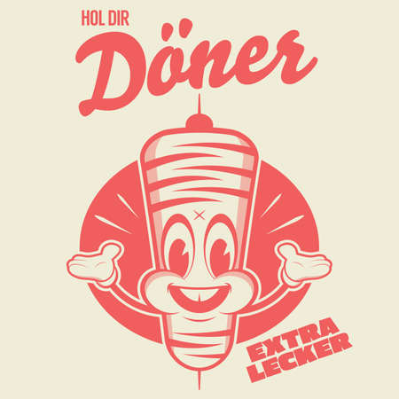 funny kebap doner cartoon   with german text which means get doner extra delicious