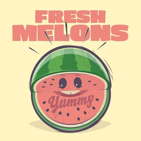 funny cartoon illustration of a fresh melon in retro style