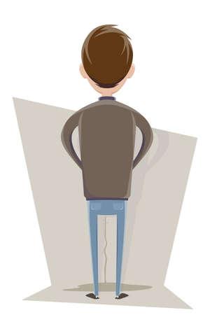 cartoon illustration of a man peeing on the wall Illustration