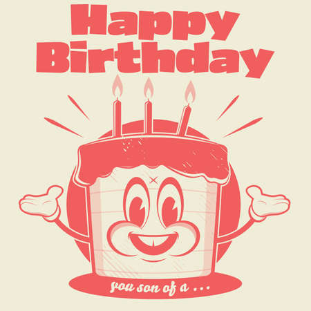 funny birthday cake in retro cartoon style with sarcastic comment