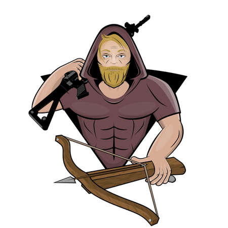 cartoon logo of a fighter with gun and crossbow Illustration