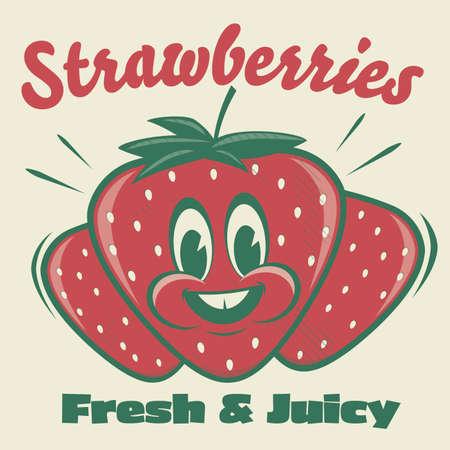 funny strawberry cartoon illustration in retro style