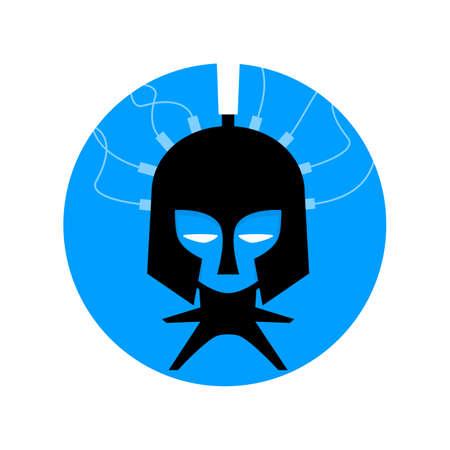 blue and black logo of a trojan cyber warrior