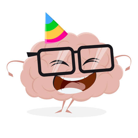 funny cartoon brain with party hat