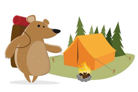 funny cartoon illustration of a camping bear