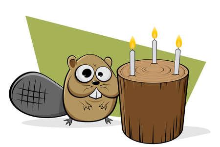 funny cartoon illustration of a beaver celebrating birthday with wood log Illustration