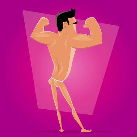 funny cartoon illustration of a posing athlete
