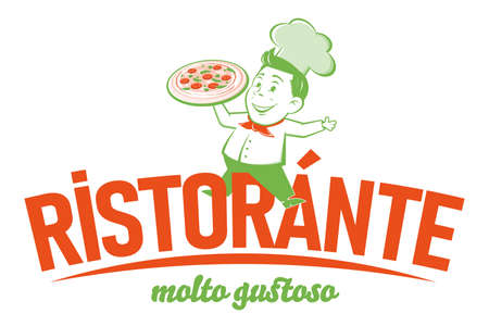 funny pizzeria retro   with italian text which means restaurant very delicious