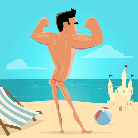 cartoon illustration of a muscular athlete posing at the beach