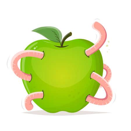 cartoon worm eating a big apple