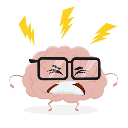 funny cartoon brain is angry