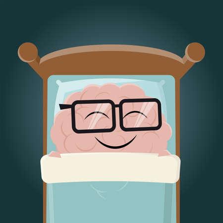 funny cartoon brain sleeping in bed