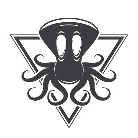funny black and white octopus cartoon