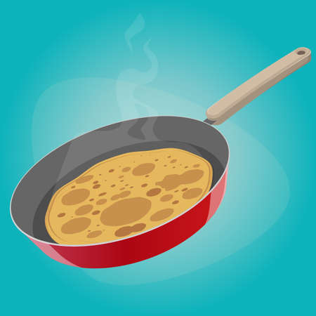 funny cartoon illustration of a pancake in a pan