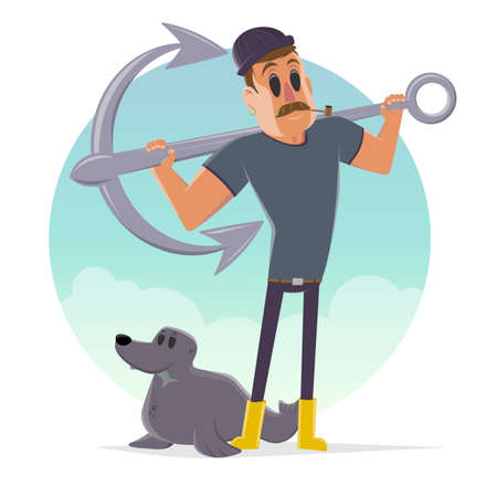 funny cartoon illustration of a sailor with anchor and seal Illustration