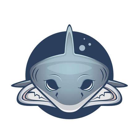 cartoon illustration of an angry shark Illustration