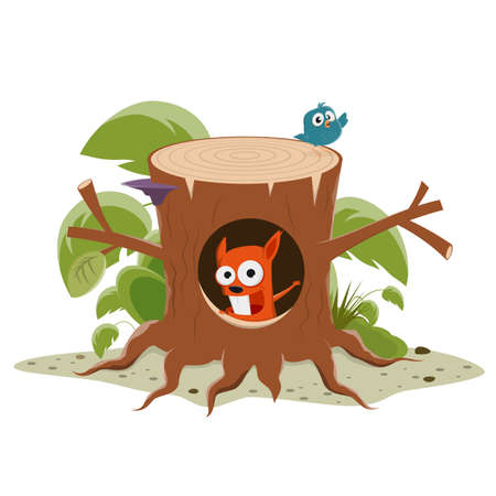 vector illustration of a funny cartoon squirrel in a tree stump Illustration