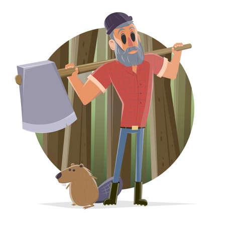 cartoon illustration of a lumberjack and a beaver Illustration
