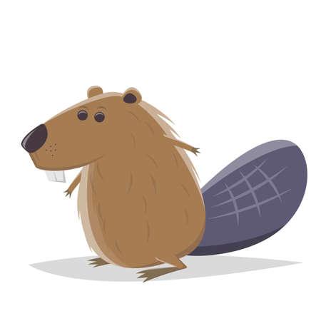 funny cartoon beaver vector illustration