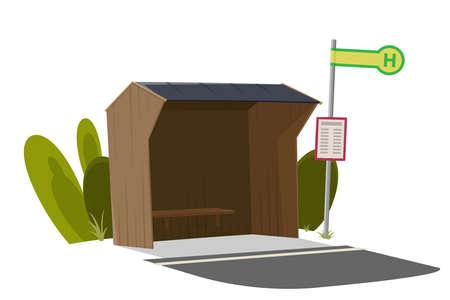 Cartoon illustration of a typical German bus stop Illustration