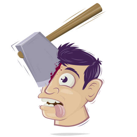 Creepy cartoon illustration of a head with an axe sticking in it